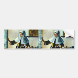 Vermeer's Young Woman with a Water Pitcher ca 1665 Bumper Sticker