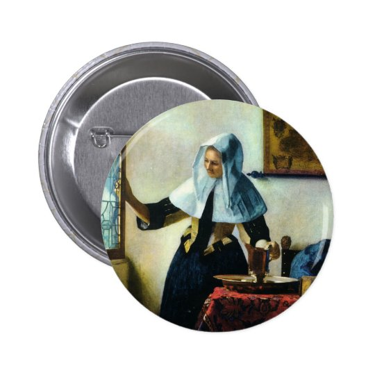 Vermeer's Young Woman with a Water Pitcher ca 1665 Button