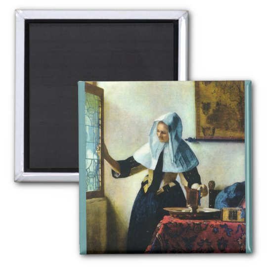 Vermeer's Young Woman with a Water Pitcher ca 1665 Magnet