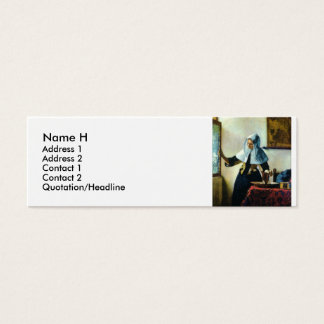 Vermeer's Young Woman with a Water Pitcher ca 1665 Mini Business Card