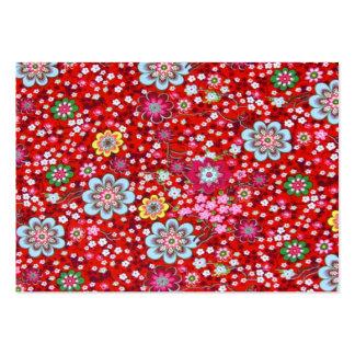 vermelho floral del fundo del em del padrão tarjeta personal
