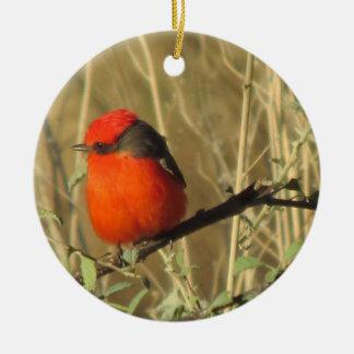 Vermilion Flycatcher Ceramic Ornament
