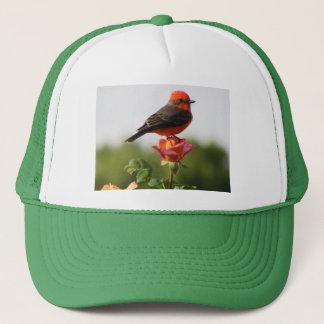 Vermilion Flycatcher on Rose Trucker Hat