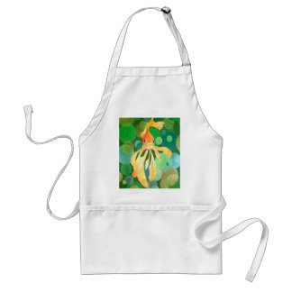 Vermilion Goldfish Swimming In Green Sea of Bubble Adult Apron