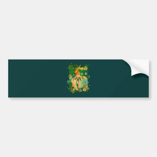 Vermilion Goldfish Swimming In Green Sea of Bubble Bumper Sticker
