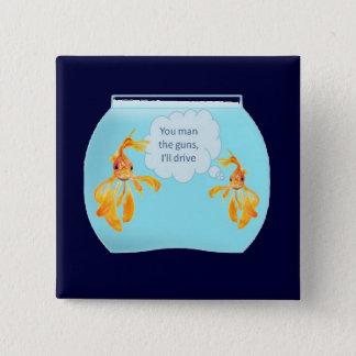 Vermilion Goldfish Swimming In Green Sea of Bubble Button