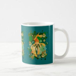 Vermilion Goldfish Swimming In Green Sea of Bubble Coffee Mug