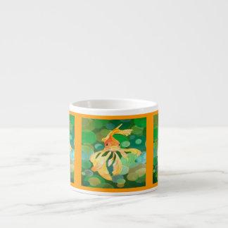 Vermilion Goldfish Swimming In Green Sea of Bubble Espresso Cup