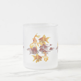 Vermilion Goldfish Swimming In Green Sea of Bubble Frosted Glass Coffee Mug