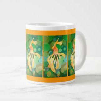 Vermilion Goldfish Swimming In Green Sea of Bubble Giant Coffee Mug