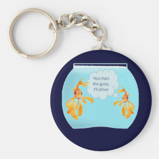 Vermilion Goldfish Swimming In Green Sea of Bubble Keychain