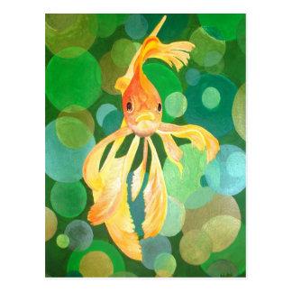 Vermilion Goldfish Swimming In Green Sea of Bubble Postcard