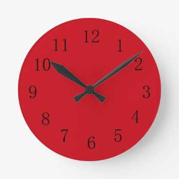 Vermilion Red Kitchen Wall Clock by Red_Clocks at Zazzle
