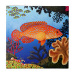 "Vermilion Sea Bass Miniatus Grouper Tile<br><div class=""desc"">Original fine art design of a Vermilion Sea Bass or Miniatus Grouper in the coral reefs of the Indo Pacific by artist Carolyn McFann of Two Purring Cats Studio printed on a quality ceramic tile for ocean fish fans.</div>"