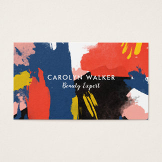 Vermillion Black & Navy - Abstract Watercolor Business Card