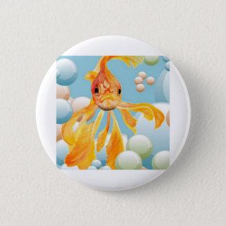Vermillion Goldfish Blowing Bubbles Button