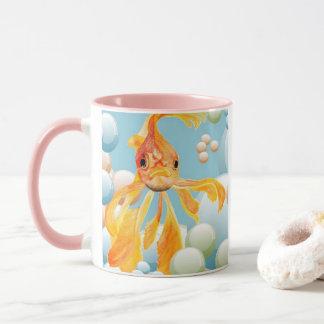 Vermillion Goldfish Blowing Bubbles Mug