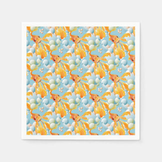 Vermillion Goldfish Blowing Bubbles Napkin