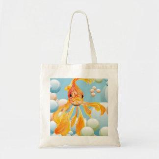 Vermillion Goldfish Blowing Bubbles Tote Bag