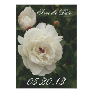 Vermillion & White Peony Blossom Save the Date Card