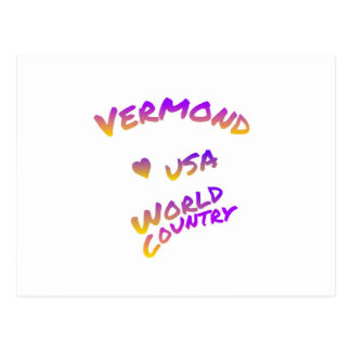 Vermond usa world country, colorful text art postcard