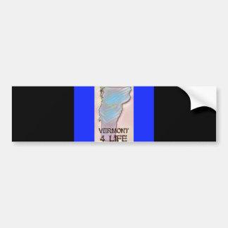 """""""Vermont 4 Life"""" State Map Pride Design Bumper Sticker"""