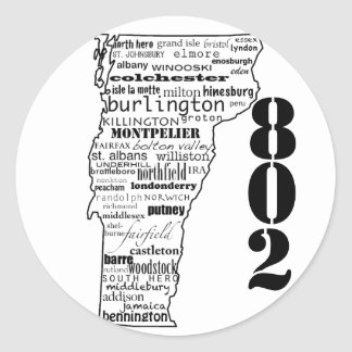 "Vermont ""802"" pegatinas pegatina redonda"