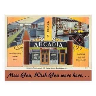 Vermont, Arcadia Restaurant, Burlington Postcard