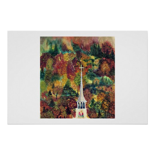 Vermont Autumn Church Spire - watercolor painting Poster