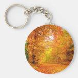 Vermont Autumn Nature Landscape Basic Round Button Keychain