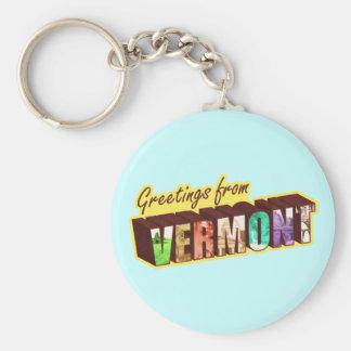 Vermont` Basic Round Button Keychain
