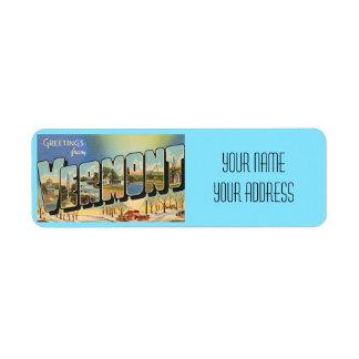 Vermont Big Letter Vintage Postcard Address Label