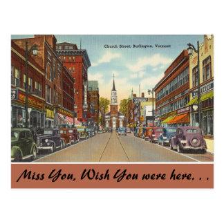 Vermont, calle de la iglesia, Burlington Tarjeta Postal