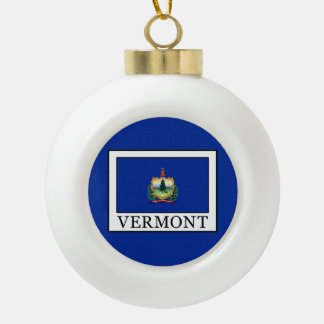 Vermont Ceramic Ball Christmas Ornament