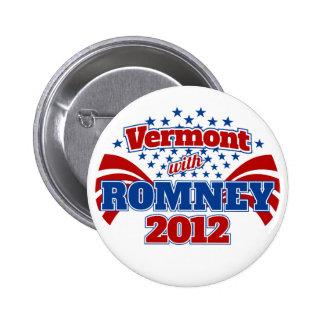 Vermont con Romney 2012 Pin Redondo 5 Cm