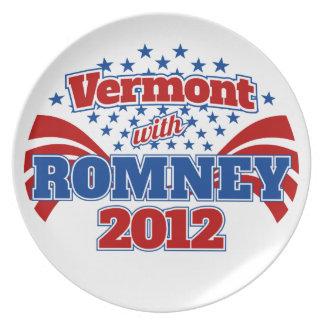 Vermont con Romney 2012 Platos De Comidas