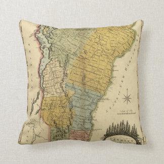 Vermont, de la encuesta real - mapa del vintage 18 almohada