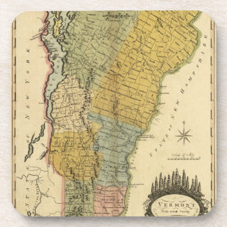Vermont, de la encuesta real - mapa del vintage 18 posavasos de bebidas