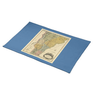 Vermont, de la encuesta real - mapa del vintage mantel individual