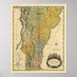 Vermont, de la encuesta real - mapa del vintage póster