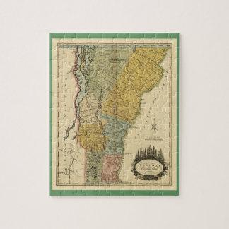 Vermont, de la encuesta real - mapa del vintage rompecabeza con fotos