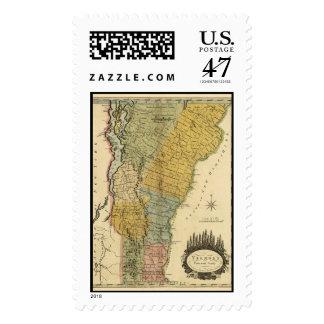 Vermont, de la encuesta real - mapa del vintage sellos