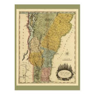 Vermont, de la encuesta real - mapa del vintage postales