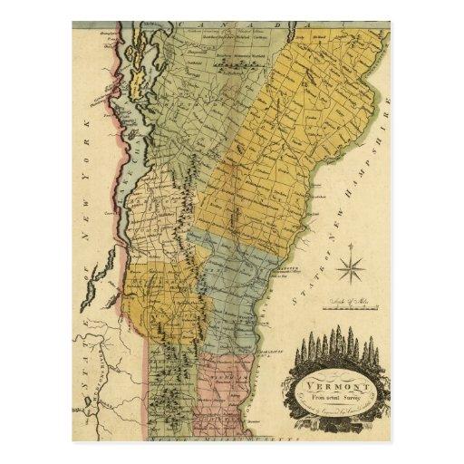 Vermont, de la encuesta real - mapa del vintage tarjeta postal