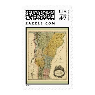 Vermont, de la encuesta real - mapa del vintage timbres postales