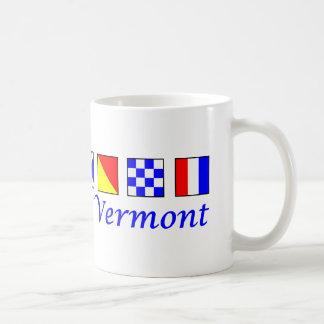 Vermont deletreó en alfabeto náutico de la bandera taza