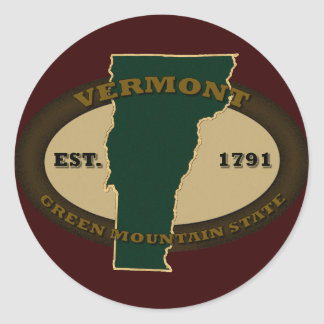 Vermont Est 1791 Classic Round Sticker