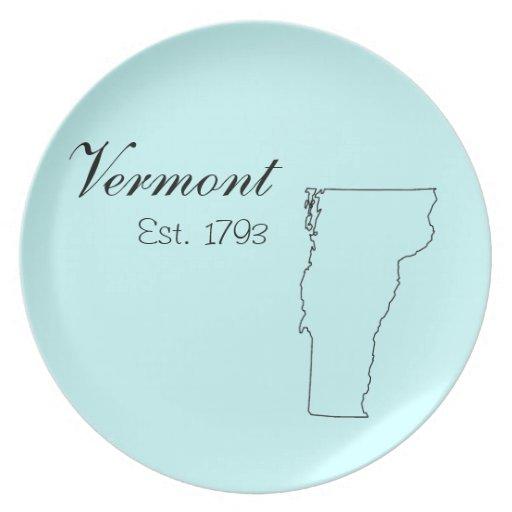 """""""Vermont, Est. 1793"""" placas de la cocina Plato De Cena"""