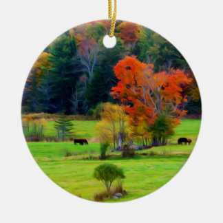 Vermont Fall Double-Sided Ceramic Round Christmas Ornament