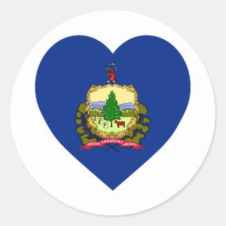 Vermont Flag Heart Classic Round Sticker